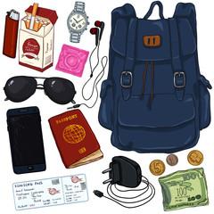 Vector Cartoon Travel Set. Personal Belongings for Journey