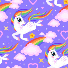 Seamless pattern with a cartoon unicorn and rainbow. For fabric, wallpaper and background