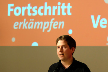 Kevin Kuehnert, head of the German Social DemocratsÕ (SPD) youth wing speaks during the meeting in Wernigerode