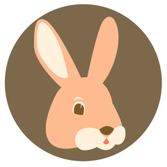 hare rabbit  face vector illustration flat style   front
