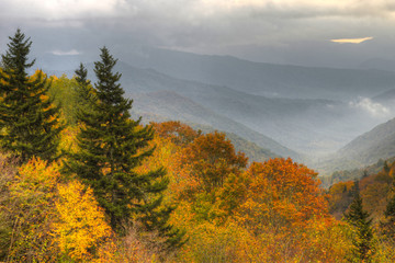 Fall colors surround valleys of the Great Smoky Mountains in fall.