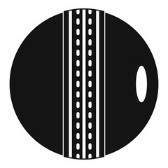 Black and white cricket ball icon, simple style
