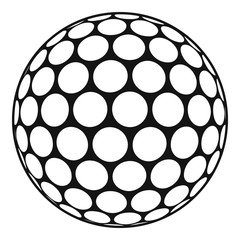 Black and white golf ball icon, simple style