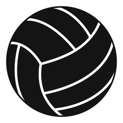 Black volleyball ball icon, simple style