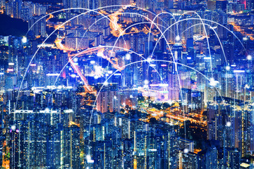 Business networking connection concept and Wi-Fi in city.Technology communication with cityscape background.