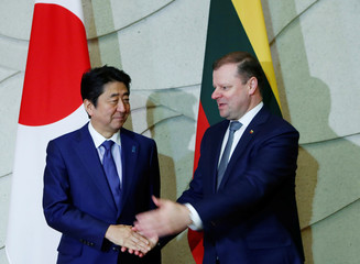 Lithuania's PM Skvernelis welcomes Japan's PM Abe to their meeting in Vilnius