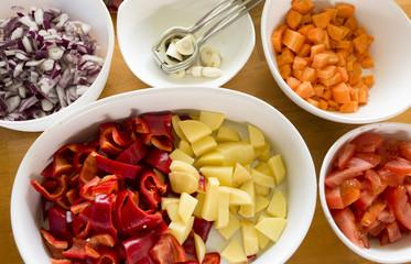 raw cut fresh vegetables