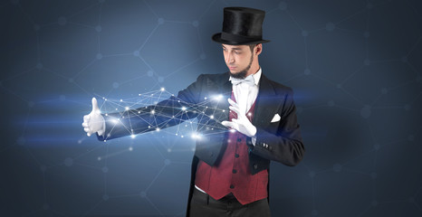 Magician with geometrical connection on his hand