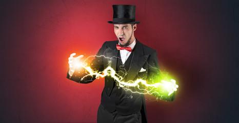 Magician energy between his hands
