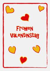 Valentinskarte in frischen Farben mit Herzen und Text. Vektor Illustration