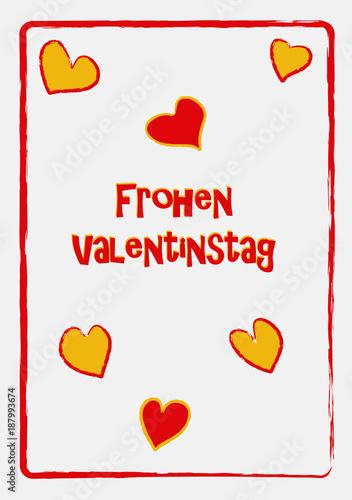 Valentinskarte in frischen Farben mit Herzen und Text. Vektor ...