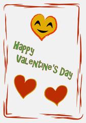 Valentinskarte mit lachendem Herz in frischen Farben. Vektor Illustration