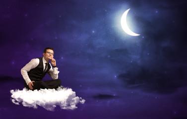 Man sitting on cloud