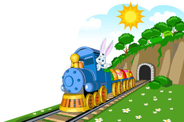 easter steam locomotive wagon tunnel  load eggs beautiful landscape mountains clouds trees bushes mill hare driver picture postcard greeting wallpaper picture