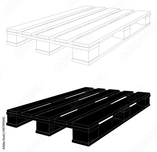 A CEN EURO Pallet Black And White Drawing Vector Eps 10