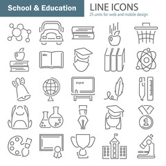 School and Education line icons set for web and mobile design
