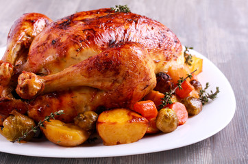 Roast chicken with brussel sprouts