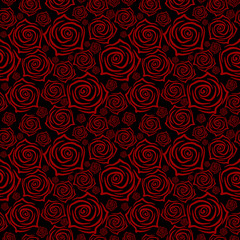 Beautiful seamless pattern with red roses on black background. Vector illustration.