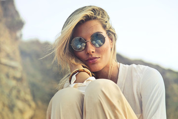 Beautiful woman wearing beautiful sunglasses