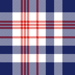 Plaid check pattern in red, white and blue. Seamless fabric texture for digital textile printing.