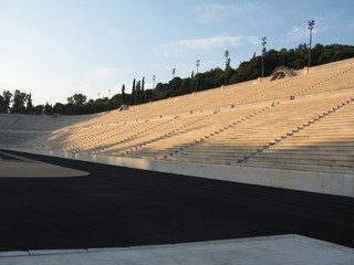 "Ancient Olympic stadium, Athens, Greece. ""Panathinaikos"" is first stadium in history. Unique in world, built of white marble. Founded in VI century B.C., this day takes competition, holds 60000 fans"