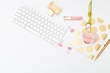 STYLED STOCK PHOTOS for  Businesses. Feminine desktop flat lay