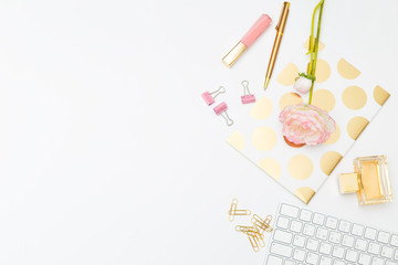 STYLED STOCK PHOTO for feminine Businesses. Feminine desk copy space