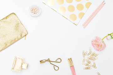 Styled feminine desk and beaty gold&beuty. Product mockup