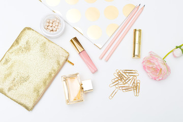 Feminine lifestyle stock images. Pink&gold flat lay