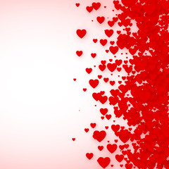 Heart confetti frame for banner. St. Valentines day hearts background. Vector illustration