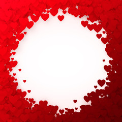 Red heart frame. Heart confetti frame for banner. Valentines day background. Vector illustration