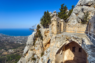 Saint Hilarion Castle on a mountain, Kyrenia Girne district, Cyprus