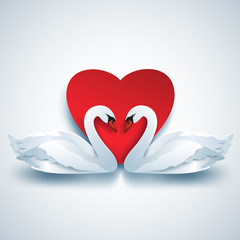 Valentines background with two white 3d swans and heart