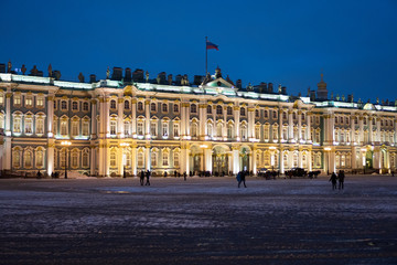Winter Palace in Saint Petersburg at evening.