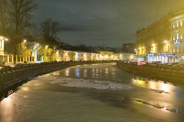 The frozen river in old Saint Petersburg.