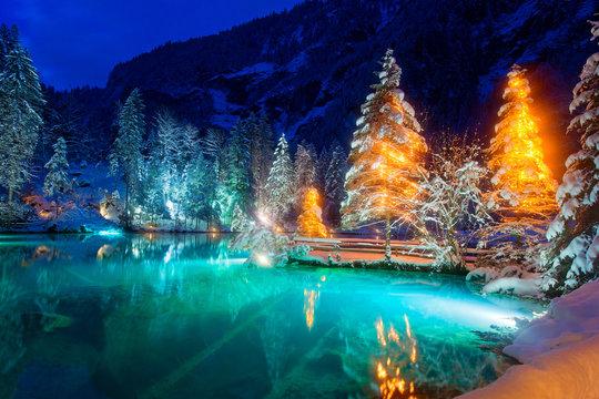 Winterlandschaft in Schweizer Alpen