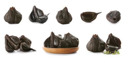 Collection of black garlic on white background