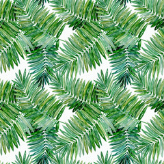Seamless tropical pattern. Bright green palm leaves on white background.