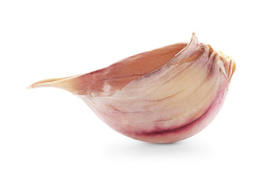 Fresh garlic clove on white background