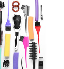 Professional hairdresser set on white background