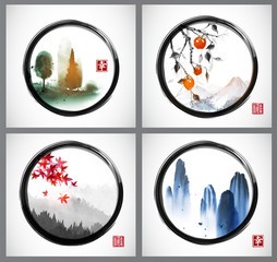 Four illustration with mountains and trees in traditional oriental ink painting sumi-e, u-sin, go-hua in black enso zen circle. Contains hieroglyphs - happiness, blessing.