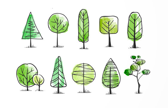 Set of green doodle sketch trees on white background