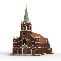 The building of the Catholic church, views from different sides. Three-dimensional illustration on a white background. 3d rendering.