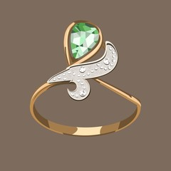 a gold ring with a silver insert and an emerald