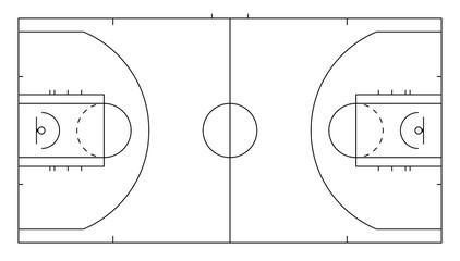 Basketball court. Sport background. Line art style