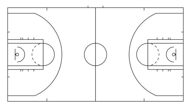 Basketball court. Sport background. Line art style