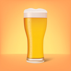 Realistic glass of beer with shadow. Vector illustration