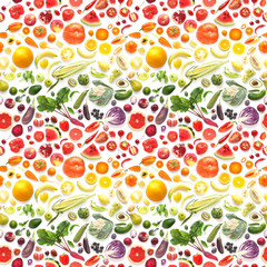 Fototapete - Food texture. Seamless pattern of various fresh vegetables and fruits isolated on white background, top view, flat lay. Composition of food.