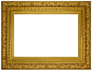 Vintage gilded wooden Frame Isolated with Clipping Path