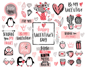 Wall Mural - Valentine`s Day Lettering Design Set with hand drawn elements.